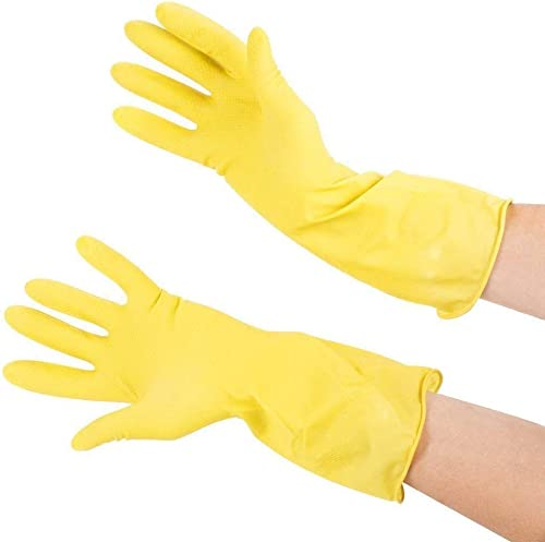 Seebuy Yellow Safety Dish Washing Use Waterproof Home And Kitchen Rubber Many Time Reuse Flexible Glovees 1 Pairs