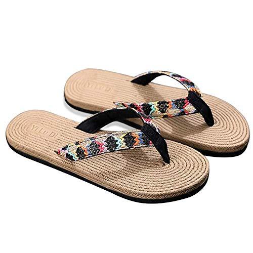 Hosaire 1X Le infradito di paglia indossano le pinne piatte della spiaggia di sabbia Nero