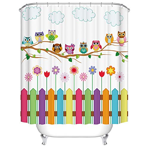 Dodou Digital Printing Shower Curtain with Owls on a Farmhouse Fence
