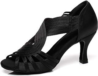 HIPPOSEUS Chaussures de Danse Latine pour Femmes à Sangle élastique Chaussures de Danse Salsa de Salle de Bal, modèle D5