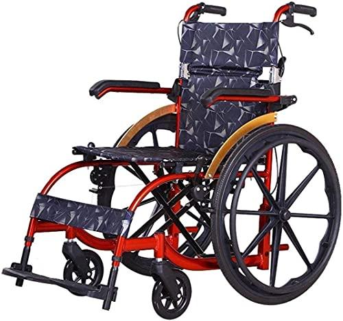Silla de Ruedas Plegable Ligera, Silla de Ruedas portátil autopropulsada con Correr con Frenos, reposapiés extraíbles, reposabrazos for Ancianos, discapacitados (Color : Rojo)