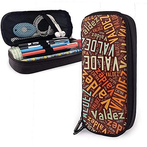 Valdez - Estuche de lápices de cuero de gran capacidad de apellido americano, lápiz, lápiz, papelería, organizador, lápiz de maquillaje universitario, bolsa de cosméticos portátil