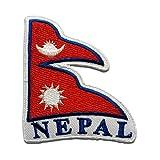 Nepal Flagge Fahne - Aufnäher, Bügelbild, Aufbügler, Applikationen, Patches, Flicken, zum aufbügeln, Größe: 7,8 x 6,8 cm
