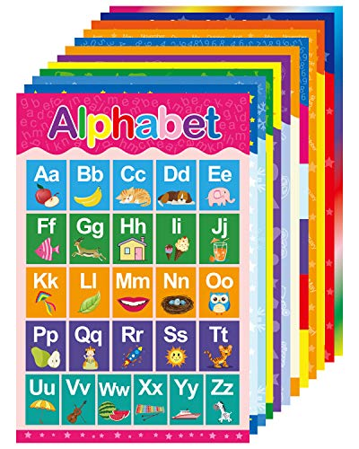 Yoklili Educational Preschool Posters for Toddlers and Kids Classroom Nursery Homeschool Kindergarten Learning Alphabet Numbers Shapes Colors Days, 12 Pack