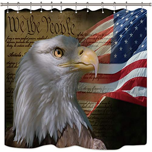 Riyidecor Bald Eagle American Flag Shower Curtain Set USA Patriotic Stars and Stripe Flag Independence Fabric Waterproof Bathroom Home Decor Panel 12 Plastic Shower Hooks 72×72 Inch