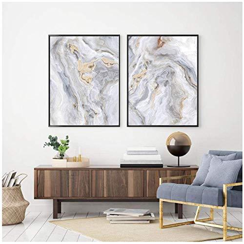 Wandbilder Leinwand Malerei Marmor Achat Modern Abstrakt Poster und Drucke Graue Wandbilder Schlafzimmer Raum Wohnwand Dekor 2x60x80cm Ohne Rahmen