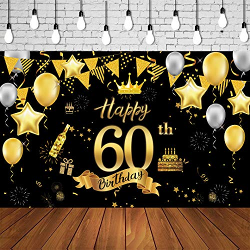 60th Birthday Background Banner 60th Birthday Party Decoration Extra Large Black Gold Sign Poster for Anniversary Photo Booth Backdrop Background Banner Birthday Party Supplies