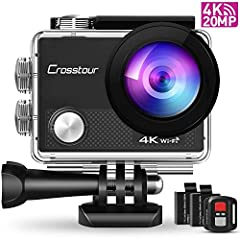 Crosstour CT9000 Action Cam Onderwatercamera (4K 20MP WiFi Onderwater 40M Waterdichte Helm Camera afstandsbediening)*
