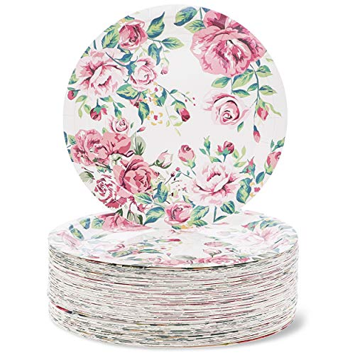 Blue Panda 80-Count Vintage Floral 9 Inch Paper Plates for Tea Party, Bridal and Baby Showers