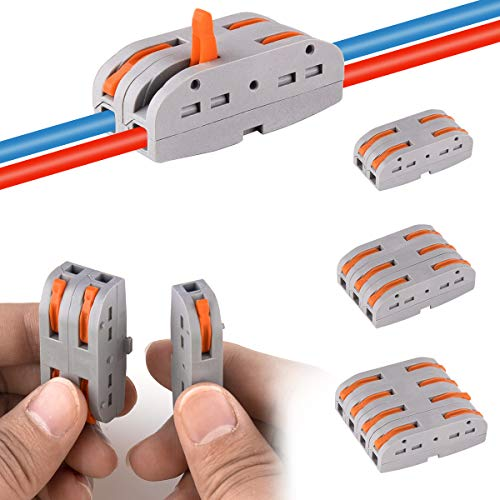 50 Pezzi Compact Connettore, DIY Morsettiera Morsetti Dado a Leva Conduttori Assortiti Connettori a Filo Compatto PCT-221