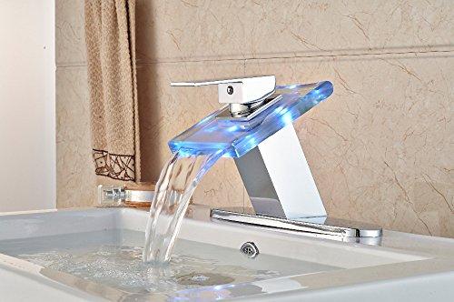 VanMe Robinet de lavabo sur Chrome LED Robinet de Salle Cascade évier W/Plaque pour 3 Trous