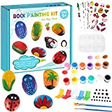 Yafeite Rock Painting Kit for Kids - 15 Rocks Crafts Set, Arts and Crafts for Boys Girls Ages 5-12, Art Supplies for Painting Rocks, Indoor Outdoor Rock Art Craft Gift for Kids Hide and Seek