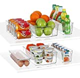 Stackable Storage Fridge Bins Refrigerator Organizer Bins for Fridge, Freezer, Pantry, Kitchen. Includes Magnetic Dry-Erase Whiteboard & Markers Set (Multi Size)