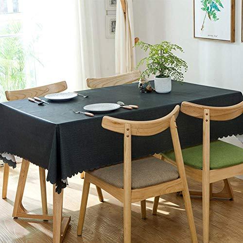 JLYZB 100% waterdicht Pvc tafelkleed, rechthoek Oblong tafelkleed Olie-proof Keuken Eettafelblad Decoratie Protector Tafel Doek-zwart 90x140cm (35x55inch)