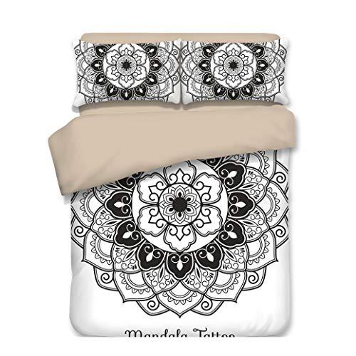 Sticker Superb Funda Nórdica Mandala Bohemia Estilo Barroco La Flor Diseño Adecuado para Camas de 90/150 cm, Niña Soltera Ropa de Cama de Ama de Casa (Mandala, Fundas para Edredón - 180x210 cm)