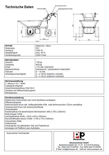 DAS ORIGINAL – MADE IN GERMANY – POWERPAC MCE400 mit 110ltr. Mulde – AKKUSCHUBKARRE ELEKTROSCHUBKARRE SCHUBKARRE DUMPER MOTORSCHUBKARRE - 3
