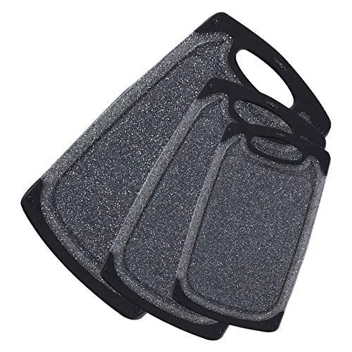 KIMIUP Tabla de cortar de cocina (juego de 3), juegos de tablas de cortar profesionales, tablas de cortar lavavajillas con ranuras de jugo y mango de transporte y sin BPA