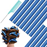 Flexi Curling Rods,Hair Twist Flexi Rods 30pcs Extended version 9.45''x0.71'' Twist Foam Hair Roller Set No Heat Hair Rollers for Women,For Girls Long Hair with Portable Bag and Comb(Blue)