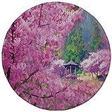 Rutschfreies Gummi-rundes Mauspad Hausdekoration Landschaft mit Sakura-Blume entfernter Berg Japanischer Pavillon Wald Bilddruck Fuchsia-Grün 7.9'x7.9'x3MM