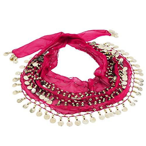 YLWL Bufanda de Gasa Profesional para Danza del Vientre 150x20cm 3 Filas 128 Monedas de Oro Disfraz de Danza del Vientre Bufandas Falda Cinturn Envoltura de Cadera Cadena de Cintura (Rosa roja)