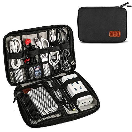 OrgaWise Bolsa Cables de Viaje Electrónico Organizador de Cable para Cargador, Cables, Objetos, Kindle, Adaptadores, Tarjetas de Memoria (Negro-02)