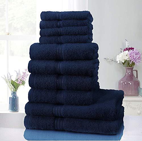 Sunshine Comforts– Hotel-Handtuch-Set, 100% natürliche ägyptische Baumwolle, Waschlappen, Handtuch, Badetuch, 10-teilig navy