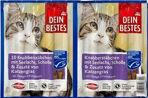 Dein Bestes Knabberstäbchen mit Seelachs, Scholle & Zusatz von Katzengras, mit Omega 3 Fettsäuren, 8 Stäbchen
