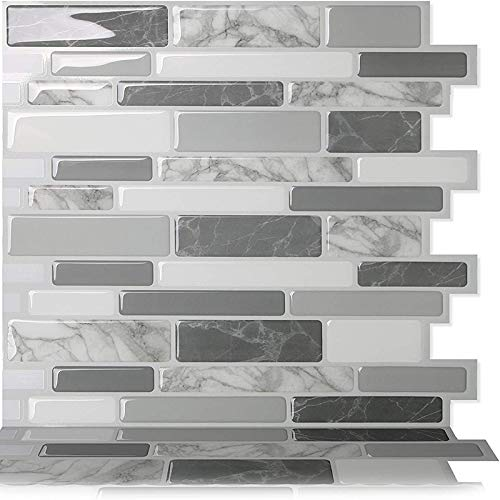Byrhgood Auto Adhesivo Impermeable 3D Mosaico de la Pared de la Pared Peel and Stick Vinyl Tile Backsplash-10 PCS (Color : GRS12)