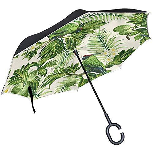 Tropische Papagei-Blume verlässt umgekehrten Regenschirm-doppelte Schicht-Rückseiten-Regenschirm-wasserdichtes windundurchlässiges für Auto-Reise im Freien