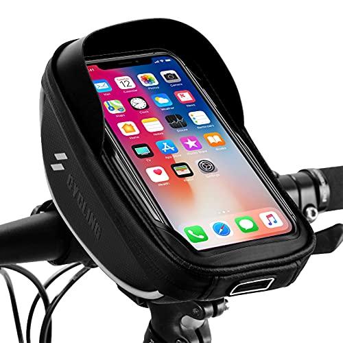 Fahrrad Lenkertasche , omitium Wasserdichter Handyhalterung 360°Drehbarem Fahrrad Rahmentasche Touchschirm Fahrradtasche mit Kopfhörerloch für GPS Navi und andere Edge bis zu 6,5 Zoll Geräte