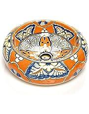 Alicia - Mexicaanse ronde opzetwastafel | 40 cm keramiek Talavera wastafel uit Mexico | Kleurrijke decoratieve motieven | Ideaal badkamer met houtlook tegels, cementtegels, rustieke onderkast