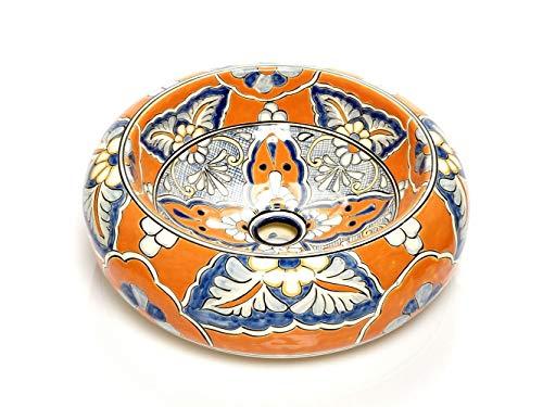 Alicia - Mexikanische Rund Aufsatzwaschbecken | 40 cm Keramik Talavera Waschbecken aus Mexiko | Buntes Deko motiven | Ideal badezimmer mit holz optik fliesen, zementfliesen, rustikal unterschrank