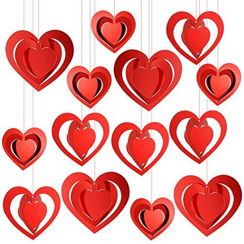 HOWAF 3D Cuore Rosso Pendenti Appendere per San Valentino Matrimonio Decorazioni Romantico Forniture, 15 Pezzi Ornamento Cuore per Fidanzamento Anniversario Compleanno Decorazioni, con Nastri Rossi