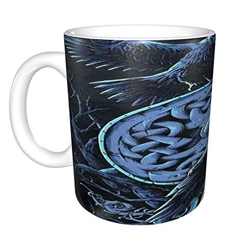 Raven Ravens Vikings Norse Warrior - Taza de café de cerámica de 325 ml, divertida, sarcástica, motivacional, inspirador regalo de cumpleaños para amigos, compañeros de trabajo, hermanos, papá o mamá