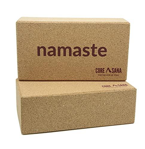 Bloque de yoga de corcho 2 unidades – Eco Friendly Handstand Bloques de apoyo ladrillo para gimnasio, fitness, pilates, meditación (Namaste)