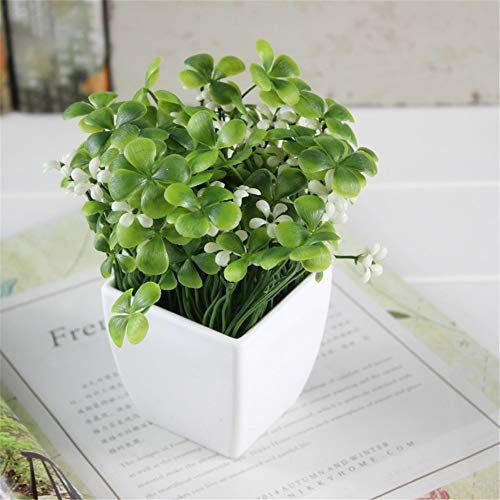 JruF Small Square Four-Leaf Clover + Flower (White) Fake Potted Plant Artificial Plant Bonsai Plastic House Plant Bathroom Home Kitchen Office Bookcase Garden