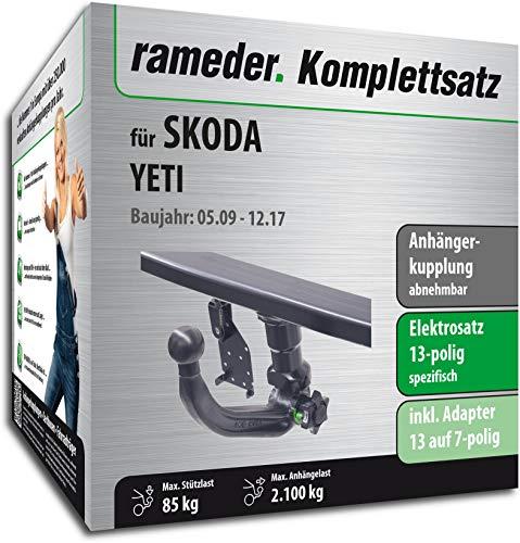 Rameder Komplettsatz, Anhängerkupplung abnehmbar + 13pol Elektrik für Skoda YETI (143255-08486-1)