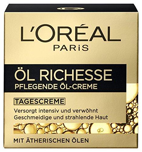 L'Oréal Paris Öl Richesse Anti-Aging Tagescreme, pflegende Öl-Creme mit ätherischen Ölen aus Lavendel und Rosmarin, für geschmeidige & strahlende Haut ohne zu fetten, 50ml