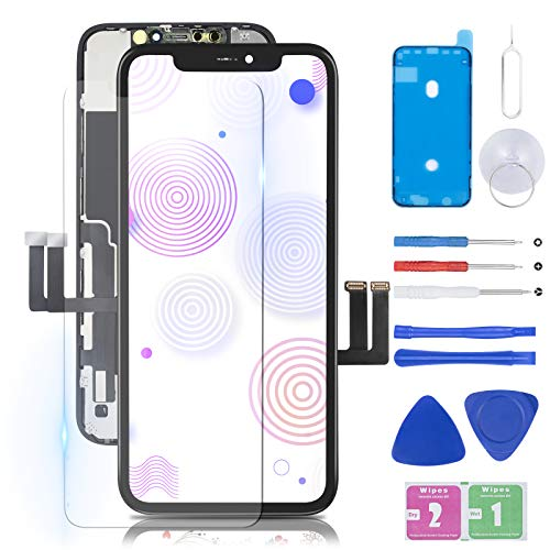 Pre-Assembled for iPhone 11 Screen Replacement 6.1 inch Black with 3D Touch and Face ID, Assembly Digitizer Frame with Repair Tools and Waterproof Adhesive