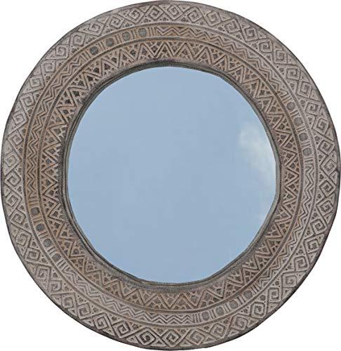 Guru-Shop Ronde Ostimor Spiegel met Decoraties - Model 4, Bruin, 48x48x4,5 cm, Spiegels
