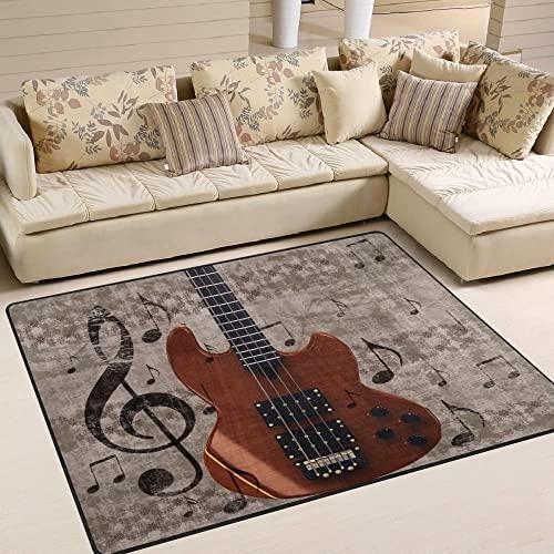 HJKGSX Alfombra De Salón Impresión de Guitarra eléctrica Alfombra Pelo Corto Antideslizante Dormitorio Cuarto de los niños Fácil de Manejar 80 x 160 cm