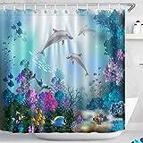 LB Delphin Duschvorhang Mit Vorhanghaken,Wasserdicht Anti-Schimmel 180 x 200 cm Polyester Stoff,Fisch Bunte Korallen Blaues Meer Unterwasser Weltmuster Bad Gardinen