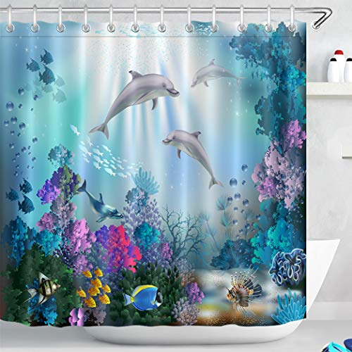 LB Dolphin Shower Curtain for Kids Bathroom Fish Coral Reef in Blue Ocean Shower Curtains with 12pcs Hooks,Waterproof Anti-mold Polyester Fabric,71x71 inches, Underwater World