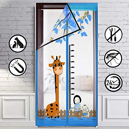 CYGJ Blue Window Mesh Insect Screen Magnetic 100x210cm / 39x82inches Door Insect Curtain for Front Door and Home Outside Kids/Pets Walk Through Easily Fit Door,Easy to Install Without Drilling