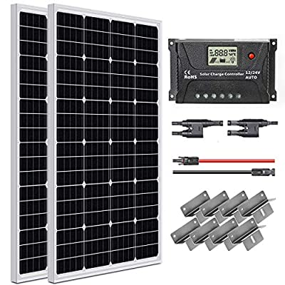 WEIZE 12 Volt Monocrystalline Solar Panel Kit, 200 Watt (2 Pack of 100W), with 20A Charger Controller, MC4 Connector, 20ft MC4 Cable, Z Brackets