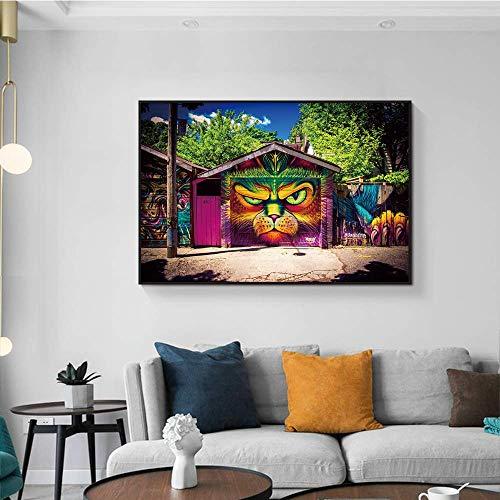 Frameloze schilderij Abstracte tijger deur decoratie moderne canvas schilderij kunst aan de muur kamer decoratieAY5743 60X90cm