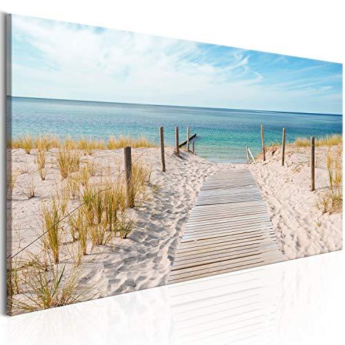 murando Cuadro en Lienzo Playa 135x45 cm 1 Parte impresión en Material Tejido no Tejido Cuadro de Pared impresión artística fotografía gráfica decoración Naturaleza Paisaje Mar c-A-0107-b-a