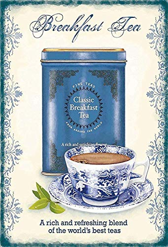 NWFS Tee Classic Breakfast Tea Frühstucks Blechschild Metallschild Schild Metal Tin Sign gewölbt lackiert 20 x 30 cm