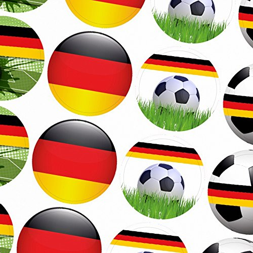 48 x Fussball Aufkleber Motiv: Deutschland Mix/rund, 4cm Durchmesser für Geburtstage, WM, Feiern, Party, Vereine, Dekoration - Sticker