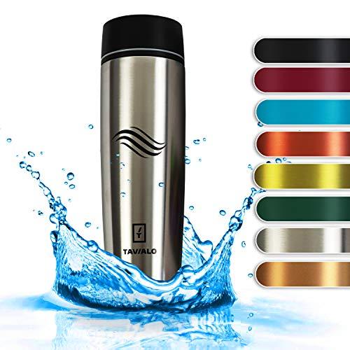 TAVIALO Thermobecher, Reisebecher, 460ml, Farbe Metallic Silber, Isolierbecher aus INOX Edelstahl, auslaufsicher, gummierter Standfuß